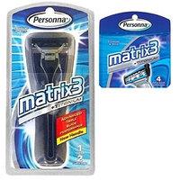 Personna Matrix3 Advanced Triple Blade Razor Handle + Matrix3 Titanium Triple Blade Refill Cartridge Blades, 4 Ct. + FREE Assorted Purse Kit/Cosmetic Bag Bonus Gift
