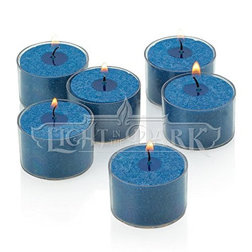 Light In The Dark Navy Unscented Tealight Candles with Clear Cups (Set of 36)
