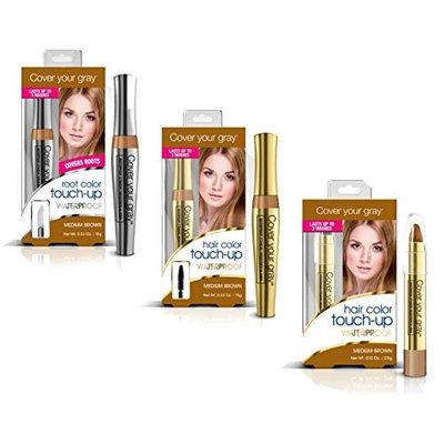 Cover Your Roots Waterproof Gray Coverage Variety Pack - 3 Piece Set, Medium Brown