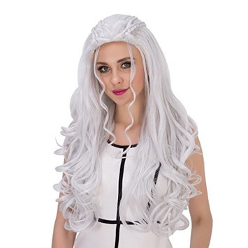 Amback Long Curly Braid Styling Cosplay Wig Silver/Blonde for Daenerys Targaryen khaleesi
