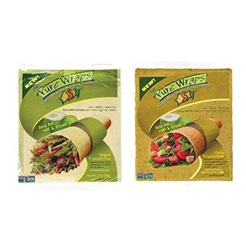 Pure Wraps, Paleo Coconut Wraps, Original & Curry Sampler, 4 Per Pack (8 wraps)
