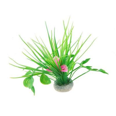 Aquarium White Pink Plastic Flower Green Grass Plants w Ceramic Base