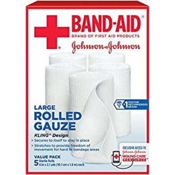 J J BandAid First Aid Rolled Gauze 4 x 2.1 yds Part No. 111614100 Qty Per Box