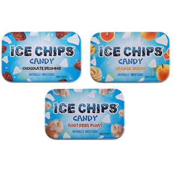 ICE CHIPS Candy 3 Pack Assortment (Chocolate Brownie, Orange Cream, Root Beer Float)