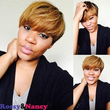 Rossy&Nancy Virgin Brazilian Human Hair Silk Straight Gluess Short Wigs Two Tone Golden Brown Black Color for Black Women