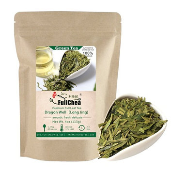 FullChea - Longjing Tea - Dragonwell Tea - Chinese Green Tea Loose Leaf - First Grade - Organic Lung Ching Dragon Well 4oz / 113g