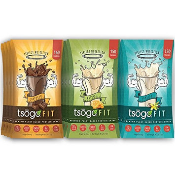 Tsogo Fit Variety 12 Pack, Chocolate, Vanilla & Natural Flavors, Soy Free, Gluten Free & Dairy Free, High Fiber & Protein, Low Calories & Carbs, Meal Replacement Shake-12 Single Servings)