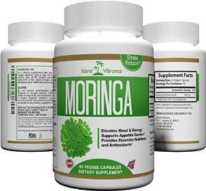 Island Vibrance Pure Moringa Oleifera Leaf-Powder Capsules: Best Plant Extract for Mood & Energy Boost, Appetite Control, Stress Reduction, and Nutrients & Antioxidants- 800mg Per Serving, 60 Count, Full Month Supply.