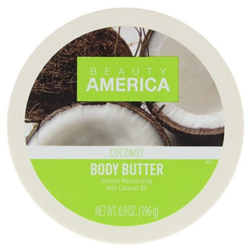 Beauty America Intense Moisturizing Body Butter With Coconut Oil, 6.9 Ounce [Coconut]