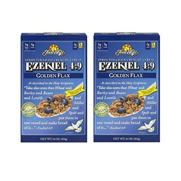 Food For Life Ezekiel 4:9 Sprouted Whole Grain Crunchy Cereal Golden Flax, 16.0 OZ (2 pack)