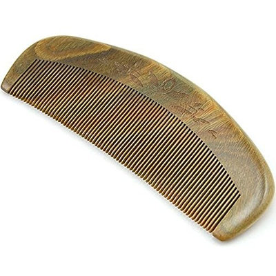 DLFE 100% Handmade Natural Green Sandalwood Comb Pocket Comb with Natural Wood Aromatic Smell