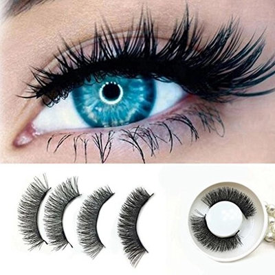 Upgraded Long Magnetic Eyelashes, 0.2mm Ultra Thin Magnetic False Eyelashes, 3D Reusable Fake Lashes, Natural Look (Triple Magnets 1 Pair / 4 Pieces) By DMZing