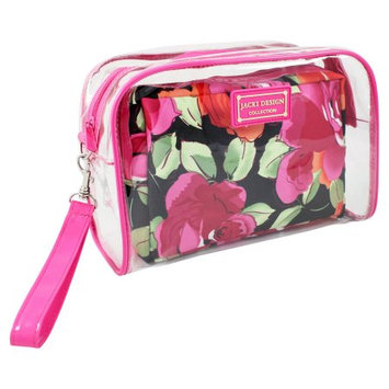 Jacki Design Tropicana Two Piece Cosmetic Bag Set with Wristlet Pink/Black - Jacki Design Ladies Cosmetic Bags