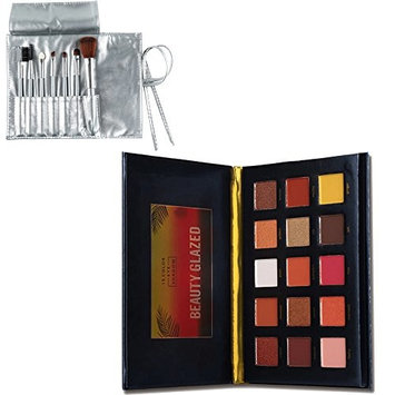 Beauty Glazed 15 Colors Sunset Dusk Eye Shadow Professional Matte Eyeshadow Palette With Intense Pigment Long Lasting Warm Color Eyeshadow Palette Collection With 7 Pcs Makeup Brushes set
