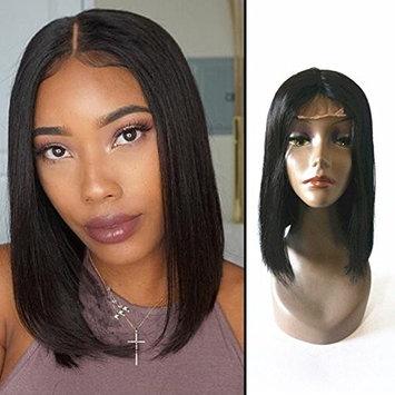 Enoya Hair Straight Brazilian Virgin Hair Glueless Machine Made Human Hair Bob Wigs Middle Part Short Wigs 12inch