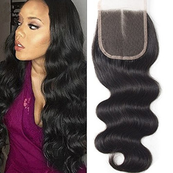 ZM Hair Lace Closure Human Hair 4x4 Body Wave Deluxe Virgin Brazilian Hair Full Lace Front Top Base Middle Part Lace Frontal Closure For Wig Making(8 Inch)