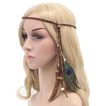 DEESEE(TM) Bohemia Peacock Feather Headdress Headband Braid Hair Hoop Headband Lead Rope