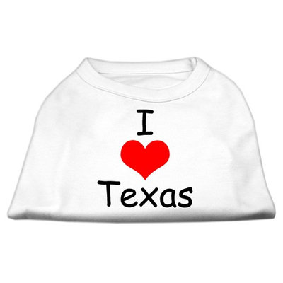 Mirage Pet Products 5138 MDWT I Love Texas Screen Print Shirts White Med 12