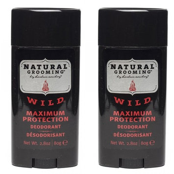 Herban Cowboy Natural Grooming Maximum Protection Deodorant, Wild Scent (Pack of 2) with Aloe Vera, Rice, Rosemary, Parsley and Sage, Organic and 100% Vegan, Paraben and Aluminum Free, 2.8 oz each