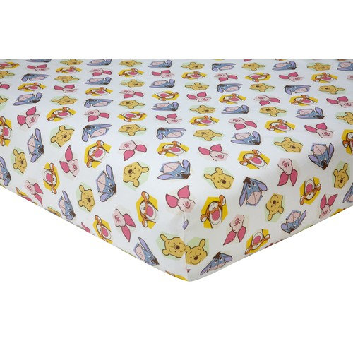 Disney Winnie the Pooh Peeking Pooh 100% Cotton Fitted Crib Sheet