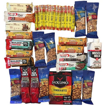 The Extreme Protein Power Pack-High Protein Snack Variety Bundle: 35 Items Jack Link's, Slim Jim, Planter's Peanuts, Clif Builders, Muscle Milk, Premier...