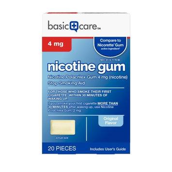 Basic Care Nicotine Gum 4mg, Stop Smoking Aid, Original, 20 Count