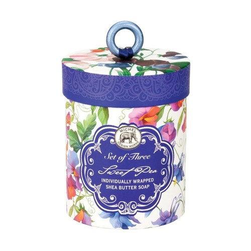 Michel Design Works Triple Milled 3-Piece Shea Butter Soap Gift Set, Sweet Pea [Sweet Pea]