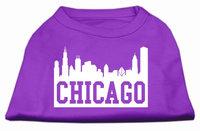 Mirage Pet Products 5166 XXLPR Chicago Skyline Screen Print Shirt Purple XXL 18