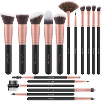 EmaxDesign Makeup Brushes 17 Pieces Premium Synthetic Foundation Brush Powder Blending Blush Concealer Eye Face Liquid Powder Cream Cosmetics Brushes Kit (Rose G