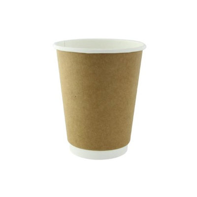 Packnwood 210GCDW12K 12 oz Double Wall Kraft Compostable Paper Cups 3.5 x 4.3 in.