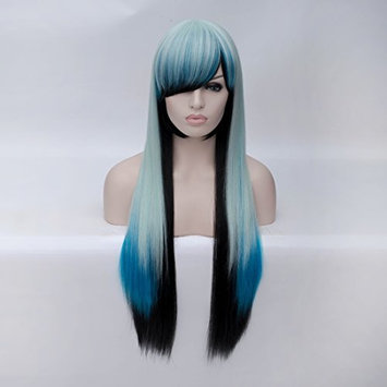 Anime Cosplay Wigs Multi Colored Wigs with Bangs Long Straight Wigs Heat Resistant Synthetic Wigs for Party Costume 33 Inch(85CM)