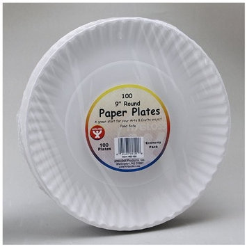 Hygloss 9'' Unwaxed Paper Plates - Pack of 100