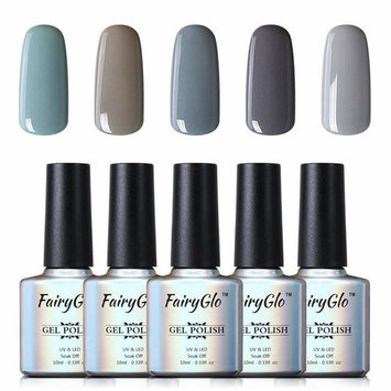 FairyGlo Grey Nail Polish 5PCS UV LED Soak Off Nail Art Kit Beauty Gel Manicure Decor Salon Gift Set 10ml 004