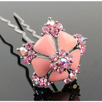 Janefashions Flower Pink Austrian Rhinestone Hairpin Hair Stick Fork Pick Bun Geisha C1177p