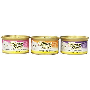 Purina Fancy Feast Sliced Poultry and Beef Variety Pack Gourmet Wet Cat Food - (24) 3 oz. cans