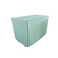 LA Linen TCcheck-fit-72x24x30-MintK44 Fitted Checkered Tablecloth White & Mint - 72 x 24 x 30 in.