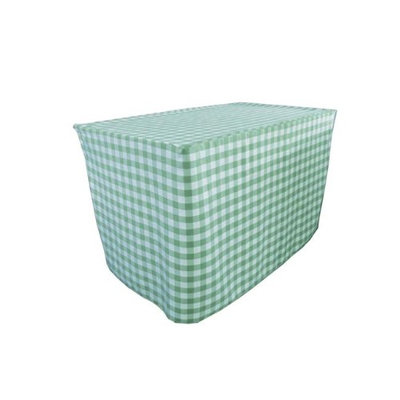 LA Linen TCcheck-fit-48x30x30-MintK44 Fitted Checkered Tablecloth White & Mint - 48 x 30 x 30 in.