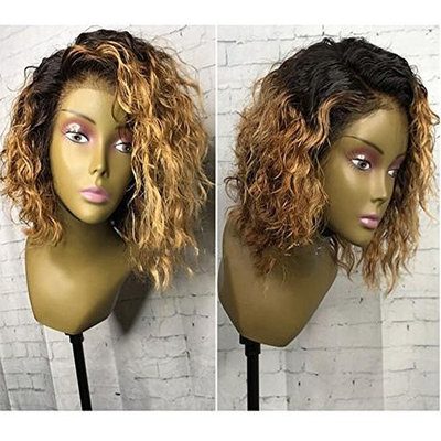 Hesperis Ombre Blonde Brazilian Virgin Hair Full Lace Wigs Curly Lace Front Wigs 150% Glueless Short Bob Curly Full Lace Human Hair Wigs