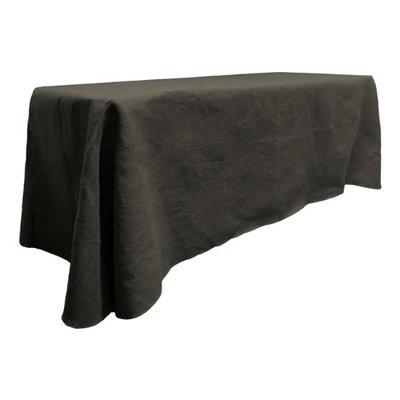 LA Linen TCBurlap90x156-Black Rectangular Dyed Natural Burlap Tablecloth, Black - 90 x 156 in.