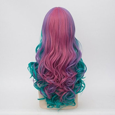 Alacos Rainbow Color 25 Inches Braid Long Curly Gothic Lolita Harajuku Anime Cosplay Christmas Costume Wig for Women +Free Wig Cap