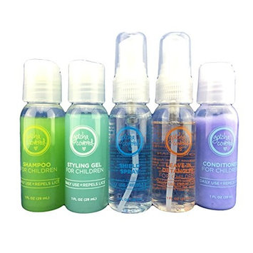 GOTCHA COVERED Head Lice Prevention Travel Pack | Shampoo, Conditioner, Spray Shield, Tangle Tamer Spray, Styling Gel | 1 oz bottles | 5 oz Total