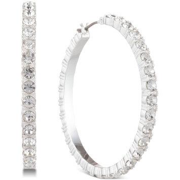 Silver-Tone Crystal Small Hoop Earrings