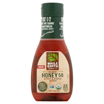 Whole Earth Sweetener Organic Honey 50 Lower Calorie Honey & Stevia Blend Sugar Substitute Organic Sweetener 12 oz
