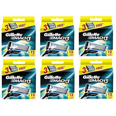 Gillette Mach3 Refill Razor Blade Cartridges, 12 Count (Pack of 6) + FREE Eyebrow Razor, 3 Ct.