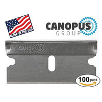 Single Edge Industrial Razor Blades, Box Cutter Replacement Blades, Glass Scraper Razor Blades By Canopus (100 Pack) - Fits ALL Standard Tools -%100 Made in USA