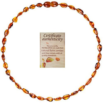 Mommy's Touch 100% Natural Amber Teething Necklace (Cognac Beans) - Anti-Inflammatory & Teething Pain Reducing Properties Unisex Necklace With Twist-in Screw Breakaway Clasp