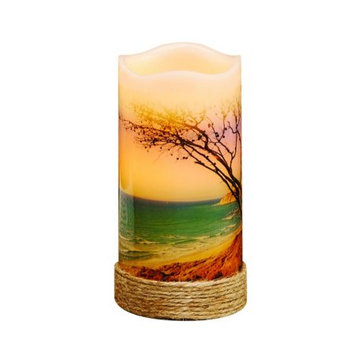 Cc Home Furnishings Pack of 4 Nautical Beach LED Lighted Wax Flameless Pillar Candles with Timer 6