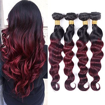 Black Rose Hair 7A Ombre Brazilian Loose Wave 4 Bundles Virgin Remy Human Hair Weave 1b/burgundy Ombre 2 Tone Color Loose Deep Hair Extension Black to Red(100g/pcs,10