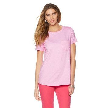 DG2 Diane Gilman Stone-Washed Shirttail Top Pocket 530-134