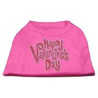 Ahi Happy Valentines Day Rhinestone Dog Shirt Bright Pink Sm (10)